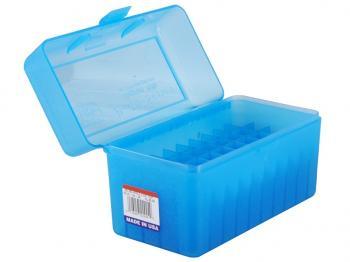 MTM Patronenbox RLLD-50-24 blau klar mit Klappdeckel f. 50 Patronen 7mm Rem. Mag. u.w.