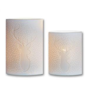 Porzellan Lampe mit Hirschmotiv