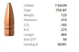 Barnes Geschoss 7,62x39/.310 123GR TSX BT 50 Stück