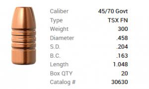 Barnes Geschoss .45-70/.458 300GR TSX FN 20 Stück
