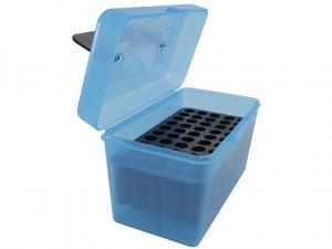 MTM Deluxe Patronenbox H50-RM-24 blau klar mit Klappdeckel und Tragegriff f. 50 Patronen .308 u.w.