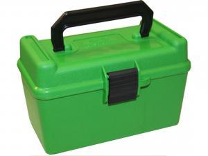 MTM Deluxe Patronenbox H50-XL-10 grün mit Klappdeckel und Tragegriff f. 50 Patronen 7mm u.w.