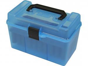 MTM Deluxe Patronenbox H50-XL-24 blau klar mit Klappdeckel und Tragegriff f. 50 Patronen 7mm u.w.
