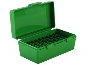MTM Patronenbox P50-38-10 grün mit Klappdeckel f. 50 Patronen .38 Spec. u.w.