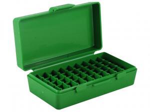 MTM Patronenbox P50-9M-10 grün mit Klappdeckel f. 50 Patronen 9mm u.w.