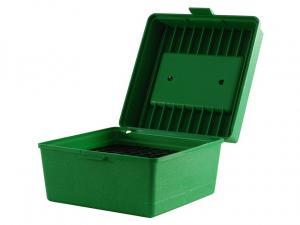 MTM Deluxe Patronenbox R-100-10 grün mit Klappdeckel und Tragegriff f. 100 Patronen .22-250 u.w.