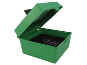 MTM Deluxe Patronenbox R-100-MAG-10 grün mit Klappdeckel und Tragegriff f. 100 Patronen 7mm WSM - .470 Capstick