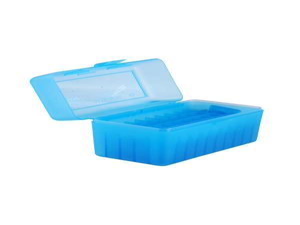 MTM Patronenbox RL-50-24 blau klar mit Klappdeckel f. 50 Patronen .270 u.w.