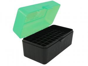 MTM Patronenbox RM-50-16T grün/schwarz mit Klappdeckel f. 50 Patronen .22-250 - .308 u.w.