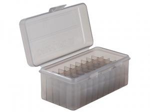 MTM Patronenbox RM-50-41 rauch klar mit Klappdeckel f. 50 Patronen .22-250 - .308 u.w.