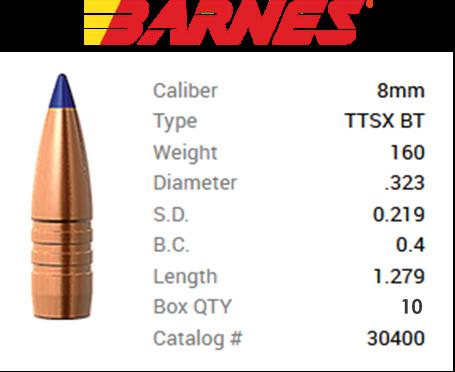 TESTPACK - Barnes Geschoss 8mm/.323 160GR Tipped TSX BT 10 Stück