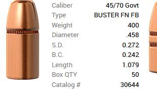 Barnes Geschoss .45-70/.458 400GR Buster FN FB 50 Stück ...