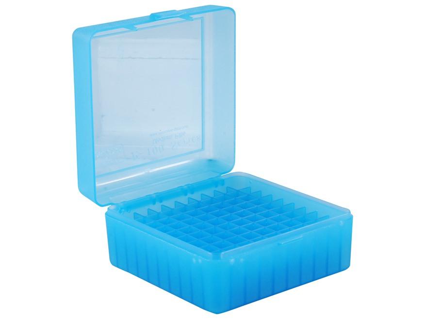 MTM Patronenbox RM-100-24 blau klar mit Klappdeckel f. 100 Patronen .308 u.w.